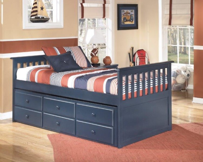 Product Photo: LEO BLUE TRUNDLE BED. Loading Zoom