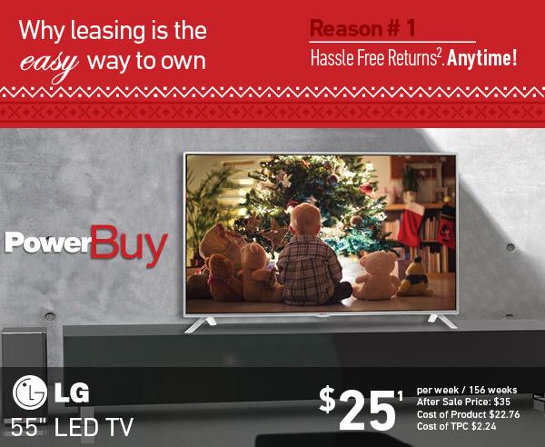 LG 55'' SMART LED TV: $25 per week for 156 weeks
